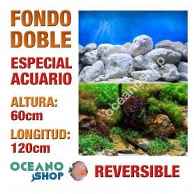 Fondo doble reversible decorativo acuario 60x120cm fondo rocoso y plantas troncos marino peces calidad