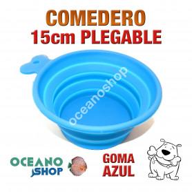 Comedero bebedero perro goma azul plegable viaje 15cm diámetro silicona