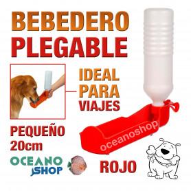 Bebedero plegable perro rojo botella pequeña viajes 20cm diámetro plástico agua