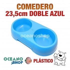 Comedero bebedero doble perro pástico azul 15cm resistente comida bebida