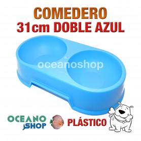 Comedero bebedero doble perro pástico azul 31cm resistente comida bebida