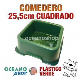 Comedero bebedero cuadrado perro plástico verde grande 25,5cm diámetro