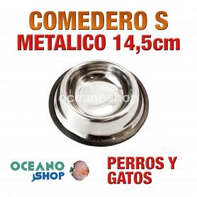 Comedero bebedero metálico talla s redondo perro y gato 14,5cm muy resistente calidad antigolpes