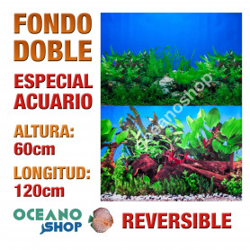 Fondo 120x60cm doble reversible decorativo fondo mar y algas marino acuario peces calidad