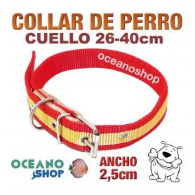 Collar perro bandera española ancho 2,5cm cuello 26-40cm calidad nylon