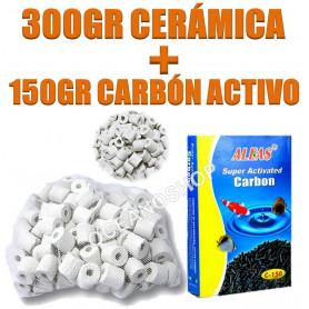 Ceramica 300gr + carbón 150gr activado para filtros.