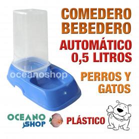 Comedero bebedero perro gato automático 20,5x18cm dispensador azul 0,5L