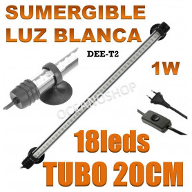 tubo led dee t2 tubo pantalla acuario 20cm pecera bajo consumo 1w sumergible