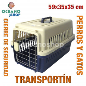 Transportín perros y gatos 59x35x35 cm