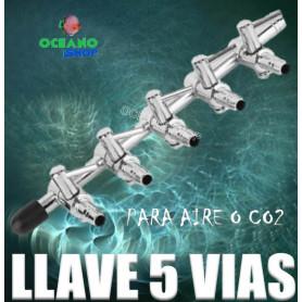 llave 5 salidas vias co2 aire oxigeno acuario varios acuarios metalica