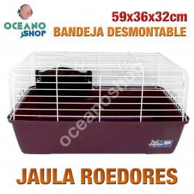 Jaula roedores bandeja desmontable 59x36x32 cm