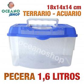 Pecera 1,6L acuario terrario de plastico 18x14x14 cm