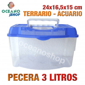 Pecera 3L acuario terrario de plastico 24x16,5x15 cm