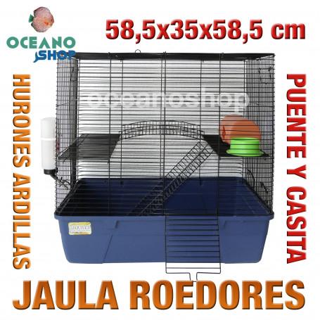 Jaula roedores huron puente y casita 58,5x35x58,5 cm