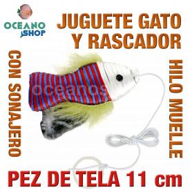 Juguete rascador gato pez tela sonajero y cuerda 12 cm