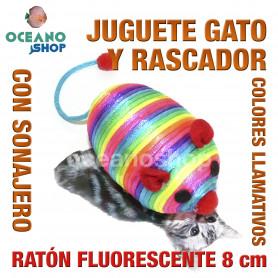 Juguete rascador gato ratón multicolor fluorescente con sonajero 8 cm