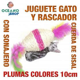 Juguete rascador gato plumas cuerda sisal 10 cm