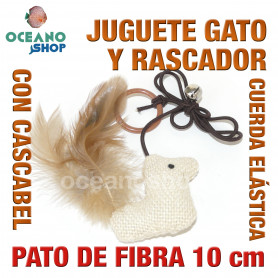 Juguete rascador gato pato de fibra con cuerda elástica + cascabel y cola 10cm