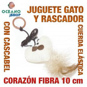 Juguete rascador gato corazón de fibra con cuerda elástica + cascabel y cola 10cm