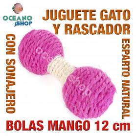 Juguete rascador gato bolas mango esparto natural y sonajero 12 cm