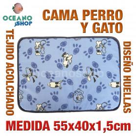 Cama colchoneta acolchada perro gato 55x40x1,5 cm
