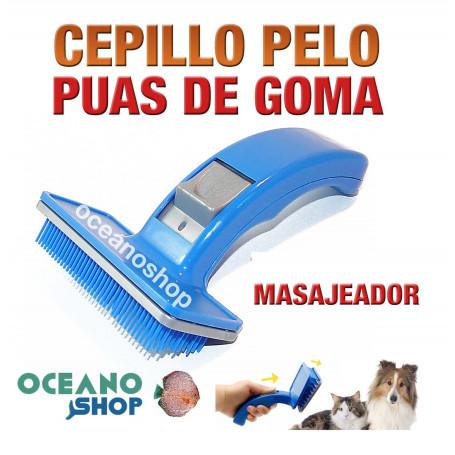 cepillo perro pelo masageador puas comodo calidad azul