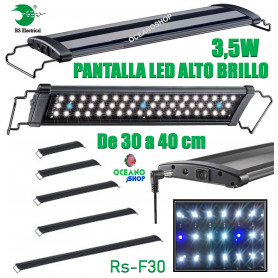 Detalles de  Pantalla regulable led 30-40cm 3,5w rs-f30 alto brillo acuario 6500k pecera RS electrical