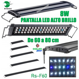 Detalles de  Pantalla regulable led 60-80cm 8w rs-f60 alto brillo acuario 6500k pecera  rs electrical