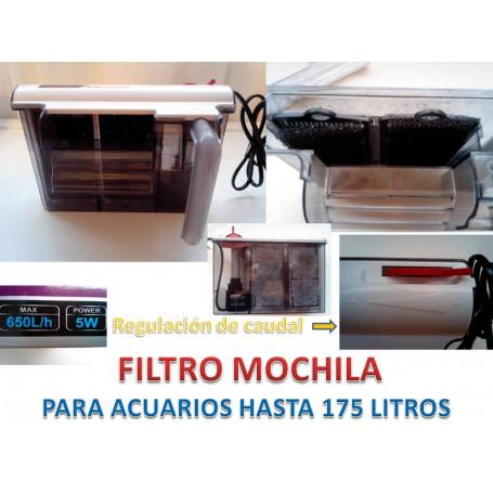Filtro mochila 650l/h 5watios