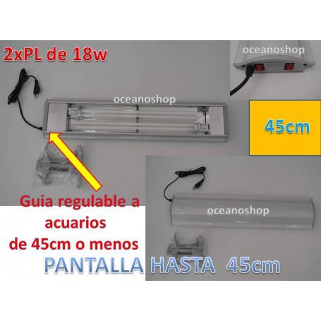 Pantalla acuario 2xpl18w hasta acuarios de 46cm. Regulable.
