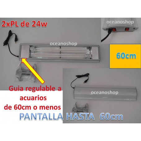 Pantalla acuario 2xpl24w SOBO hasta acuarios de 61cm. Regulable.