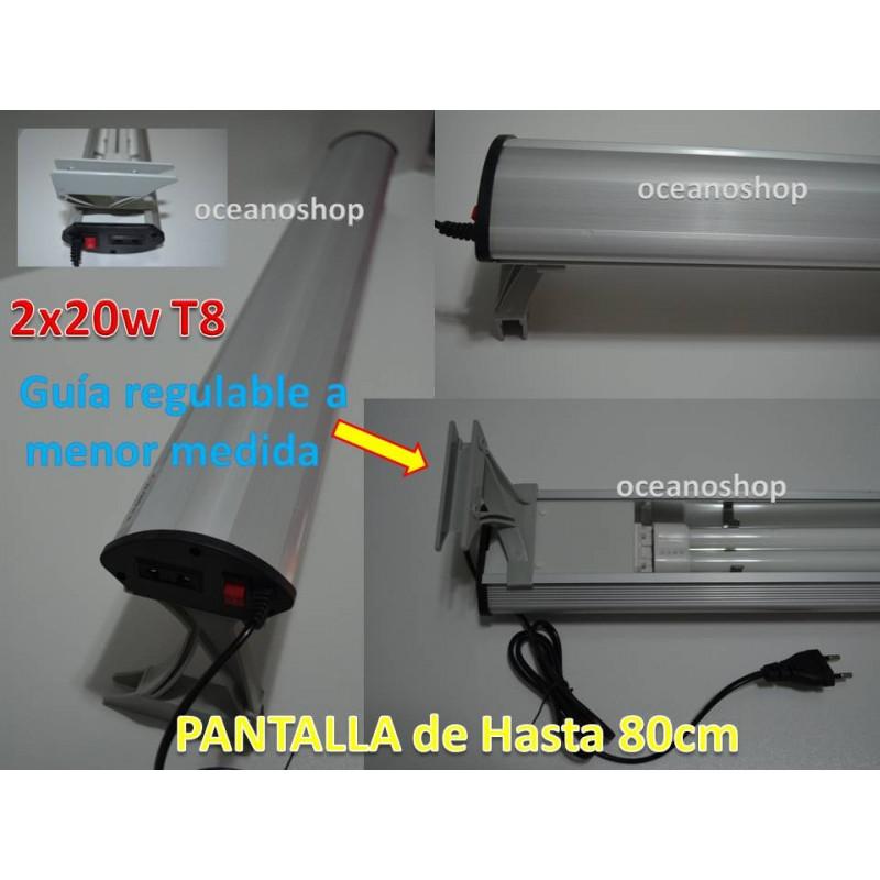 Pantalla acuario 2xpl20w hasta acuarios de 81cm. Regulable.
