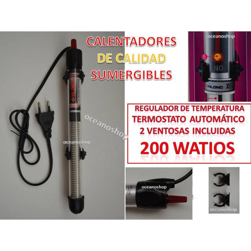 Calentador 200W para acuario y pecera. Sumergible