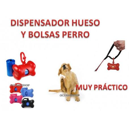 Dispensador bolsas para excrementos perro 15 bolsas (incluye 1 recambios)