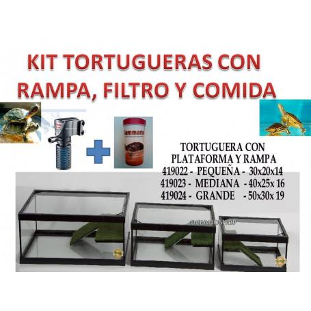 KIT TORTUGUERA con rampa de cesped FILTRO 300L +comida de 30x20x14 pecera tortuga