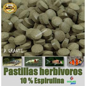 Pastillas 10% espirulina herbivoros tropical marino y gambas.