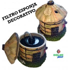 Filtro esponja decorativo figura cabaña interior acuario