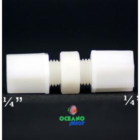 """Conector empalme lineal jaco 1/4"""" osmosis tubo blanco"""