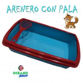 Arenero para gato azul y rojo plasvisa mear necesidades heces higienico