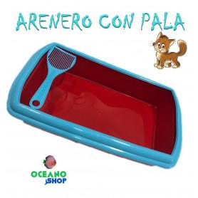 Arenero para gato rojo y azul plasvisa mear necesidades heces higienico