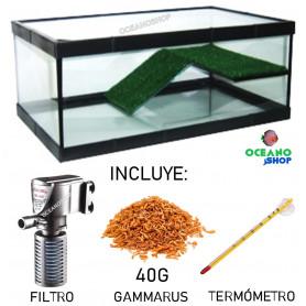 KIT TORTUGUERA con rampa 50x26x20cm incluye filtro comida y termométro