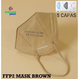 50 UDS MASCARILLAS MARRON FFP2 5 CAPAS