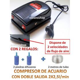 Compresor DOBLE Bomba Aire aireador Oxigenador