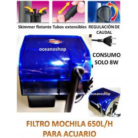 Filtro biologico mochila  650l/h para acuario