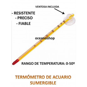 Termometro cristal temperatura Acuario Pecera ventosa