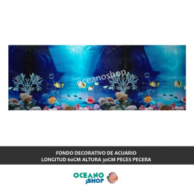 FONDO DECORATIVO de ACUARIO  longitud 60cm altura 30cm peces pecera