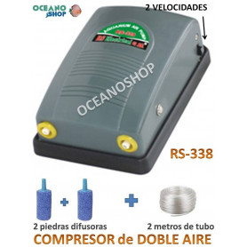 COMPRESOR DE AIRE ACUARIO 2 SALIDAS BOMBA 2 VELOCIDADES OXIGENADOR AIREADOR BARATO RS-338 RS ELECTRICAL