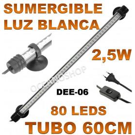 luz pantalla tubo acuario led 60cm dee 06 deebow blanca