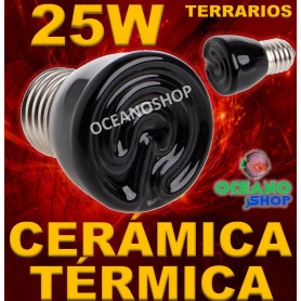 LAMPARA BOMBILLA 99% CALOR 25W CERAMICA TERMICA REPTIL terrario TORTUGA PAJARO