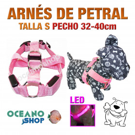 ARNÉS TALLA S LUMINOSO LED ROSA PETRAL AJUSTABLE PERRO PECHO 32-40cm